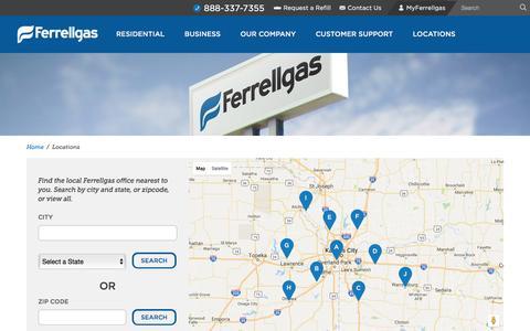 Screenshot of Locations Page ferrellgas.com - Find a Ferrellgas Location | America's Premier Propane Provider - captured Aug. 3, 2016
