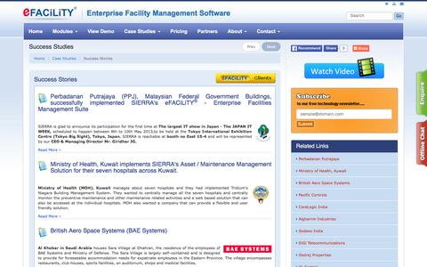 Screenshot of Case Studies Page efacility.in - eFACiLiTY - Enterprise Facilities Management Software System web based - captured April 8, 2016
