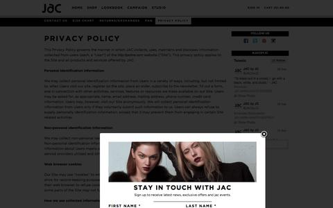 Screenshot of Privacy Page jacbyjc.com - Privacy Policy - captured Oct. 3, 2014