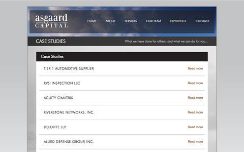 Screenshot of Case Studies Page asgaardcapital.com - Case Studies   asgaard - captured Oct. 4, 2014