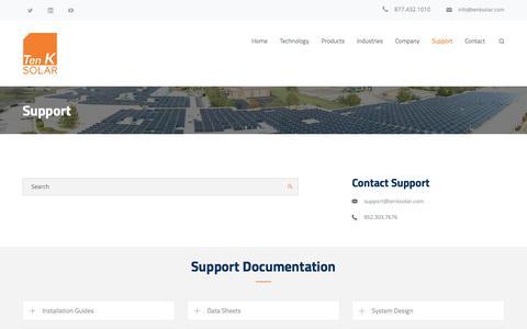 Screenshot of Support Page tenksolar.com - Support – Ten K Solar - captured July 3, 2016