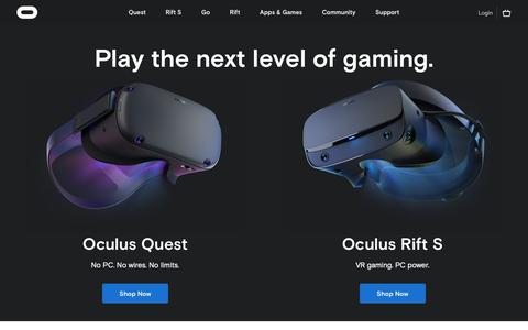 Screenshot of Home Page oculus.com - Oculus Homepage - captured May 5, 2019
