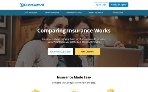 Screenshot of Home Page quotewizard.com - Get Free Insurance Quotes | QuoteWizard - captured Dec. 12, 2017