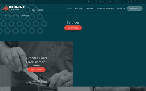 Screenshot of Services Page penninelubricants.co.uk - Our Services | Pennine Lubricants - captured Sept. 27, 2018