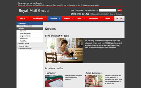 Screenshot of Services Page royalmailgroup.com - Customer services | Royal Mail Group - captured Oct. 18, 2017