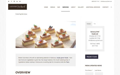 Screenshot of Services Page savourychef.com - Catering Services | Savoury Chef Foods, Vancouver BC - captured Oct. 6, 2017
