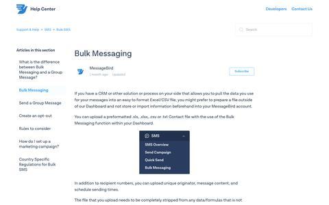 Bulk Messaging – Support & Help