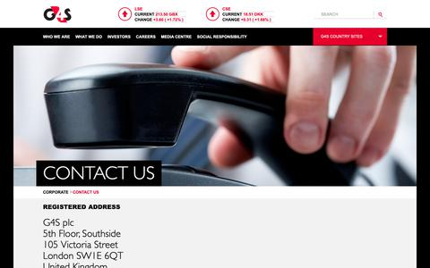 Screenshot of Contact Page g4s.com - Contact Us | G4S Corporate website - captured March 1, 2019