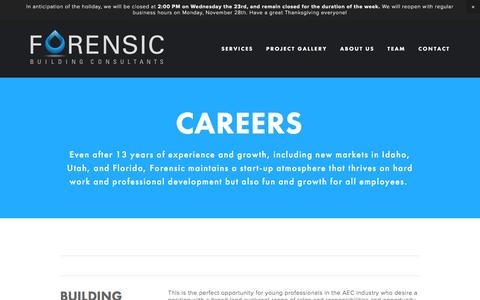 Screenshot of Jobs Page forensicbuilding.com - Careers — Forensic Building Consultants - captured Nov. 25, 2016