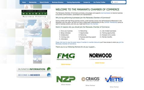 Screenshot of Home Page manawatuchamber.co.nz - Manawatu Chamber of Commerce | Improving Business to Business Communication | Manawatu Chamber - captured Oct. 4, 2014