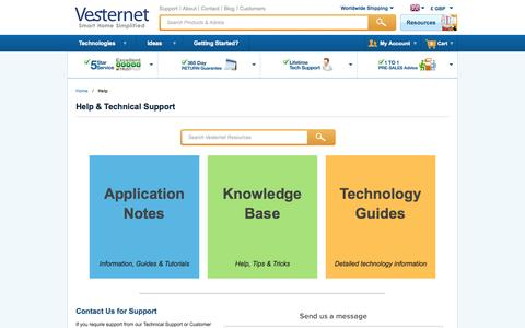 Screenshot of Support Page vesternet.com - Help - captured Sept. 24, 2014