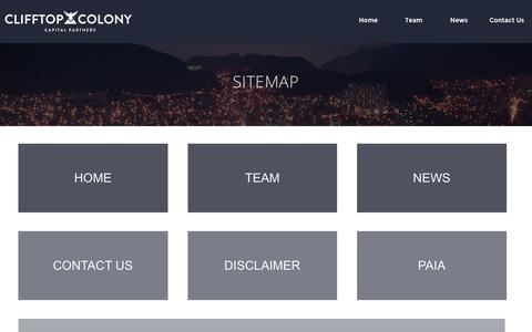 Screenshot of Site Map Page clifftopcolony.com - Sitemap | Clifftop Colony - captured Jan. 29, 2016