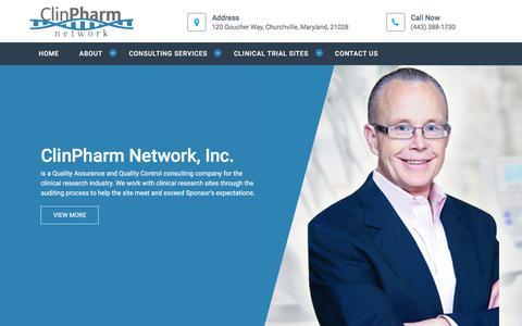 Screenshot of Home Page clinpharmnetwork.com - Home - Clinpharmnetwork.com - captured July 19, 2018