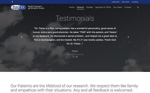 Screenshot of Testimonials Page hrhr-inc.com - Testimonials – Health Research of Hampton Roads - captured Sept. 27, 2018