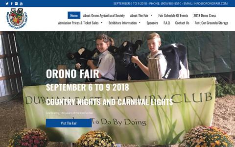 Screenshot of Home Page oronofair.com - ORONO FAIR | COUNTRY NIGHTS AND CARNIVAL LIGHTS - captured Sept. 21, 2018