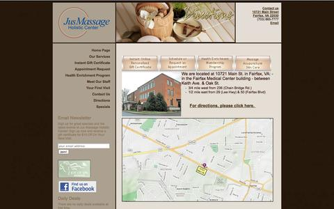 Screenshot of Maps & Directions Page jusmassage.com - JusMassage and Skin Holistic Center - Directions to Jus Massage - captured Sept. 26, 2014