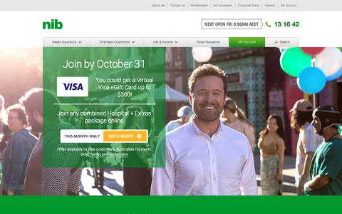 Screenshot of Home Page nib.com.au - Health Insurance & Private Health Cover Australia | nib - captured Oct. 18, 2018