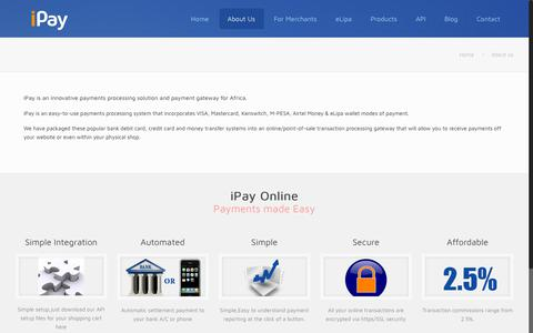 Screenshot of About Page ipayafrica.com - About iPay Limited - Payments Made Easy - captured Aug. 22, 2019