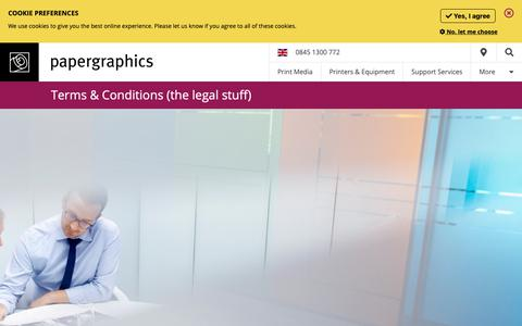 Screenshot of Terms Page paper-graphics.com - Legal - Papergraphics - captured Sept. 26, 2018