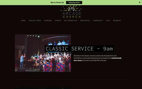 Screenshot of Services Page arcadechurchonline.com - Services — Arcade Church - captured Oct. 8, 2017