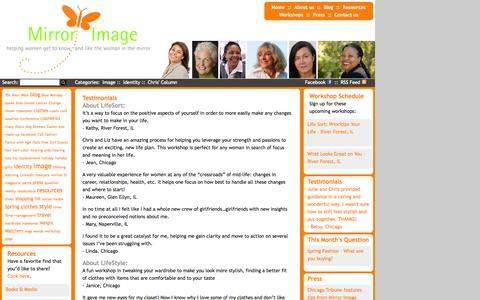 Screenshot of Testimonials Page mirrorwomen.com - Mirror Women                 » Testimonials        » helping women get to know and like the woman in the mirror - captured Oct. 7, 2014