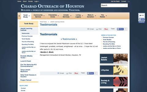 Screenshot of Testimonials Page chabadoutreach.org - Testimonials - Chabad Outreach of Houston - captured Jan. 27, 2016