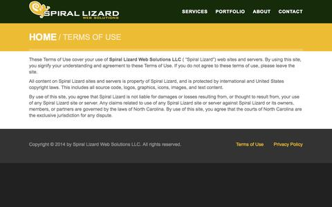 Screenshot of Terms Page spiral-lizard.com - Terms of Use | Spiral Lizard Web Solutions - captured Oct. 6, 2014