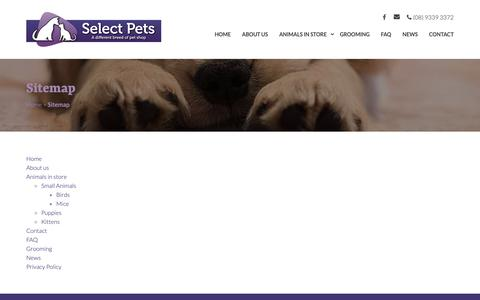 Screenshot of Site Map Page selectpets.com.au - Sitemap - Selects Pets - captured Oct. 19, 2018
