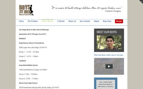 Screenshot of Locations Page boystomen.org - Boys to Men -   San Diego Locations - captured Nov. 23, 2016