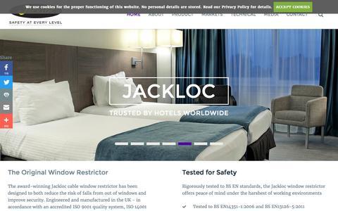 Screenshot of Home Page jackloc.com - Cable Window Restrictors, Stoppers & Safety Locks | Jackloc® - captured Nov. 26, 2016