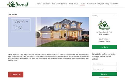 Screenshot of Services Page thegreenpest.com - Services | All States Lawn and Pest - captured Oct. 3, 2018