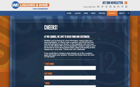 Screenshot of Contact Page wbliquors.com - WB Liquors - captured Oct. 1, 2014