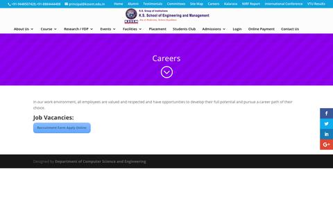 Screenshot of Jobs Page kssem.edu.in - Careers | K.S School of Engineering and Management - captured Oct. 14, 2018