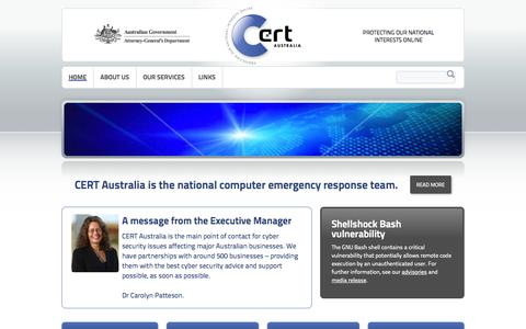Screenshot of Home Page About Page Privacy Page Contact Page Services Page Press Page FAQ Page Site Map Page cert.gov.au - Home   CERT Australia - captured Oct. 1, 2014