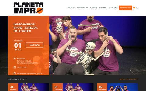 Screenshot of Home Page planetaimpro.com - Planeta Impro | Improvisación teatral - Impro Show - captured Oct. 29, 2018