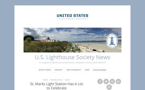 Screenshot of Press Page wordpress.com - U.S. Lighthouse Society News – In support of lighthouse preservation, education, history and research - captured July 8, 2018