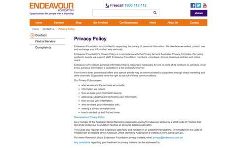 Screenshot of Privacy Page endeavour.com.au - Privacy Policy - Endeavour Foundation - captured Nov. 7, 2016