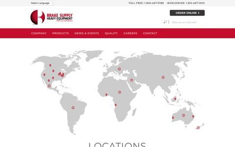 Screenshot of Locations Page brake.com - Locations | Brake Supply - Heavy Equipment Parts and Components - captured Jan. 30, 2019