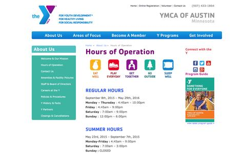 Screenshot of Hours Page ymca-austin.org - YMCA of Austin – Hours of Operation - captured Feb. 3, 2016