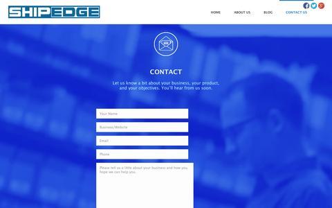 Screenshot of Contact Page shipedge.com - Contact Us - www.shipedge.com - captured Sept. 22, 2014