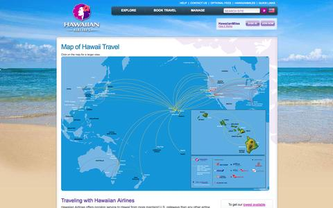 Screenshot of Maps & Directions Page hawaiianairlines.com - Hawaiian Airlines Route Map: Travel to Hawaii and Australia   - Hawaiian Airlines - captured Sept. 18, 2014