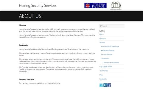 Screenshot of About Page herringsecurityservices.co.uk - About us - Herring Security Services - captured Oct. 2, 2014