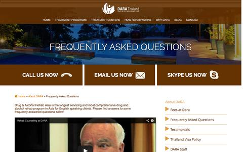 Screenshot of FAQ Page dararehab.com - Frequently Asked Questions   DARA Rehab Asia - captured Sept. 30, 2014