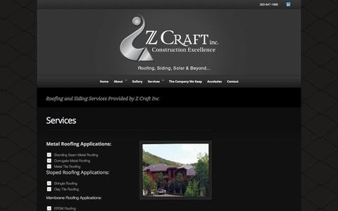 Screenshot of Services Page zcraftinc.net - Services - Z Craft - captured Nov. 3, 2014