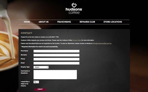 Screenshot of Contact Page hudsonscoffee.com.au - Contact | Hudsons Coffee - captured Sept. 30, 2014