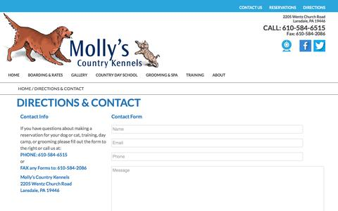 Screenshot of Contact Page Maps & Directions Page mollyscountrykennels.com - DIRECTIONS & CONTACT - Molly's Country Kennels - captured April 20, 2017