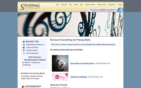 Screenshot of Press Page steadfastcounselling.com - Counseling Videos & Articles   North Vancouver, New West & Yaletown - captured Oct. 1, 2014