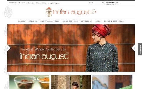 Screenshot of Home Page eindianaugust.com - Indian Handmade Shopping Websites - Buy Sarees, Woman Apparels, Jewellery, Dupatta Online - captured Jan. 21, 2015