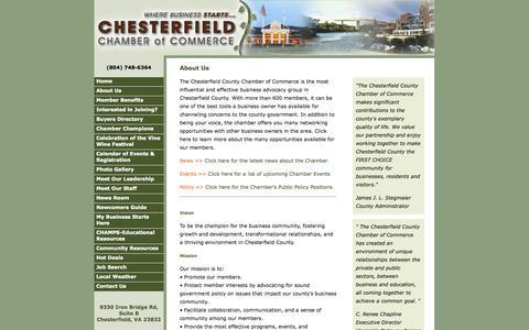 Screenshot of About Page chesterfieldchamber.com - About Chesterfield Chamber of Commerce - captured Oct. 2, 2014