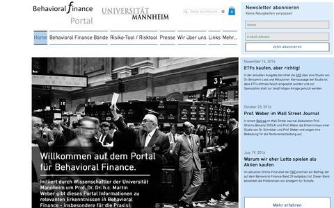 Screenshot of Home Page behavioral-finance.de - Behavioral Finance Portal - captured Jan. 25, 2017